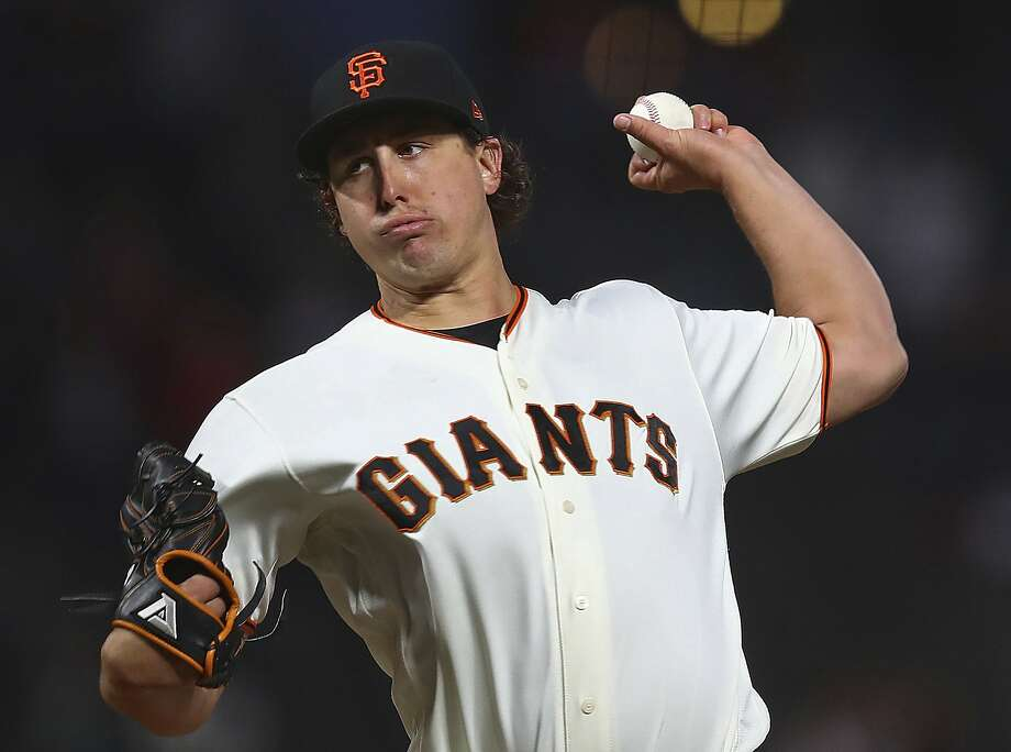 San Francisco Giants pitcher Derek Holland works against the San Diego Padres in the first inning of a baseball game Monday, Sept. 24, 2018, in San Francisco. (AP Photo/Ben Margot) Photo: Ben Margot / Associated Press