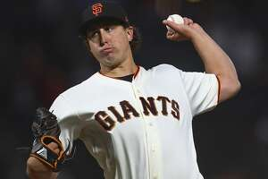 San Francisco Giants pitcher Derek Holland works against the San Diego Padres in the first inning of a baseball game Monday, Sept. 24, 2018, in San Francisco. (AP Photo/Ben Margot)