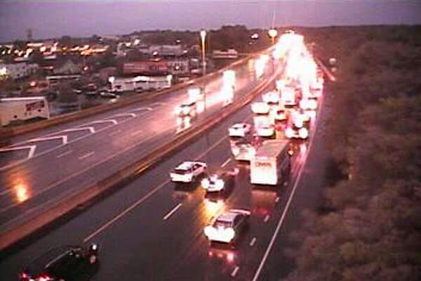 This camera image from 6:34 a.m., shows southbound traffic near Exit 24 in Fairfield on Tuesday, Sept. 25, 2018. Rain is expected during both the morning and afternoon commutes.