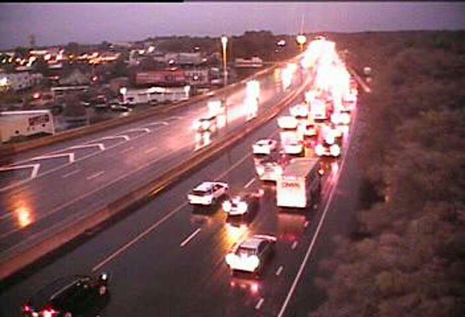 This camera image from 6:34 a.m., shows southbound traffic near Exit 24 in Fairfield on Tuesday, Sept. 25, 2018. Rain is expected during both the morning and afternoon commutes. Photo: ConnDOT Traffic Cam Image