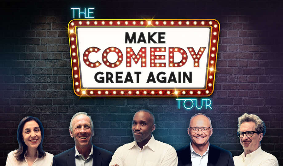 The Make Comedy Great Again Tour stars, from left, Tina Giorgi, Jeff Allen, Earl David Reed, Brad Upton and Ross Bennett. Photo: Stand-Up Global