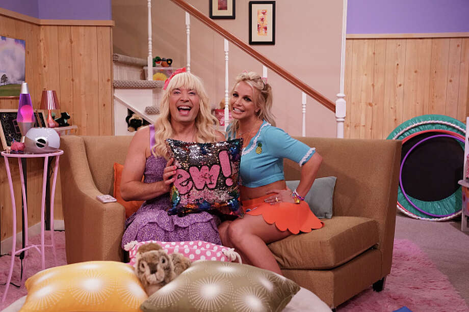 "THE TONIGHT SHOW STARRING JIMMY FALLON -- Episode 0903 -- Pictured: (l-r) Jimmy Fallon as Sara, Britney Spears as Abby during ""Ew!"" on July 26, 2018 -- (Photo by: Andrew Lipovsky/NBC/NBCU Photo Bank via Getty Images) Photo: NBC/NBCU Photo Bank Via Getty Images / 2018 NBCUniversal Media, LLC"