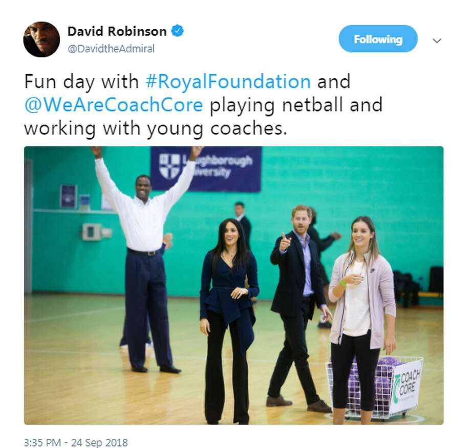 "@DavidtheAdmiral: ""Fun day with #RoyalFoundation and @WeAreCoachCore playing netball and working with young coaches."" Photo: Twitter Screengrabs"