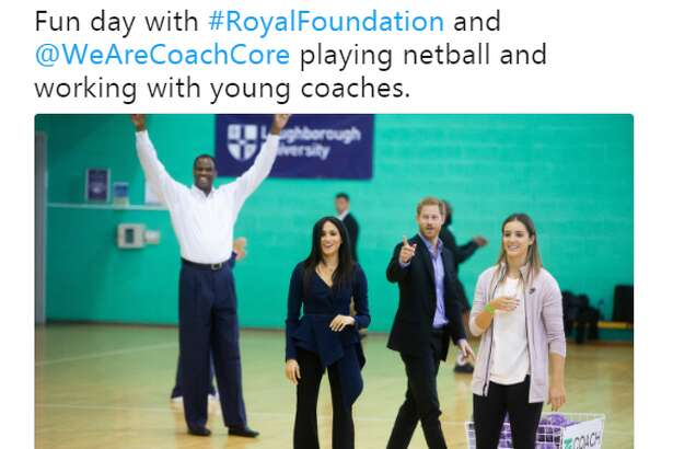 """@DavidtheAdmiral: """"Fun day with #RoyalFoundation and @WeAreCoachCore playing netball and working with young coaches."""""""