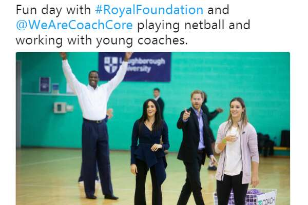 "@DavidtheAdmiral: ""Fun day with #RoyalFoundation and @WeAreCoachCore playing netball and working with young coaches."""