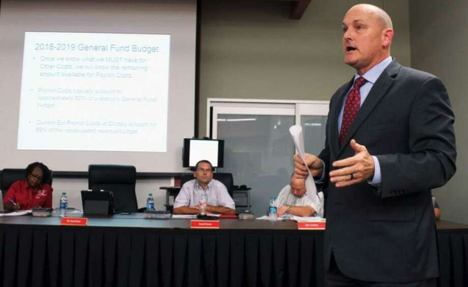 PHOTOS: Fastest-growing districts Dr. Scott Davis, Crosby ISD Superintendent discusses the districts finances at the board of trustees meeting Monday, Sept. 17, 2018. Trustees voted unanimously Monday evening on a resolution that established financial exigency and a need to cut staff. Davis has not said how many people could potentially lose their jobs. >>See the other districts in the Houston area that are undergoing tremendous growth in the photos that follow... Photo: Kaila Contreras/Staff Photographer / Houston Chronicle