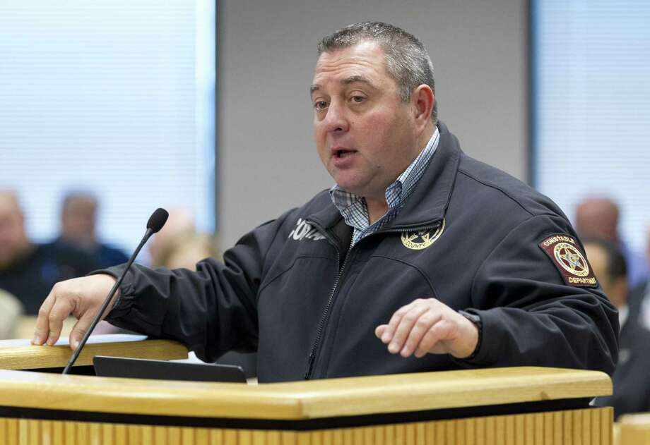 In this file photo, Chris Jones, Montgomery County Precinct 5 constable, speaks during a Montgomery County Commissioners Court meeting at the Alan B. Sadler Administration Building, Jan. 9, 2017, in Conroe. Photo: Jason Fochtman, Staff Photographer / Houston Chronicle / © 2018 Houston Chronicle