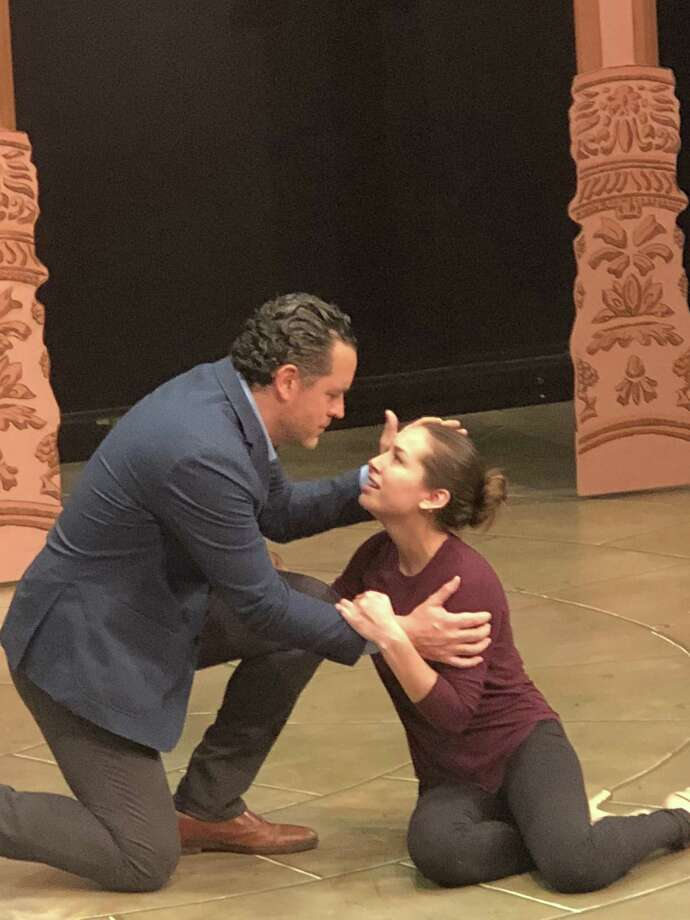 "Ryan K. Bailer, as Juan Perón, and Julia Estrada, as Eva Perón, rehearse for ""Evita,"" on stage at ACT of Connecticut in Ridgefield, Oct. 4, through Nov. 11. Photo: Betsy Brand / Contributed Photo"