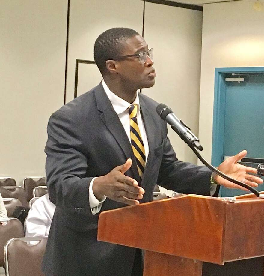 Harding High School Principal Dane Brown addresses Bridgeport Board of Education on Sept. 24, 2018. Photo: Linda Conner Lambeck