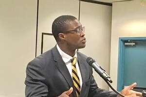Harding High School Principal Dane Brown addresses Bridgeport Board of Education on Sept. 24, 2018.