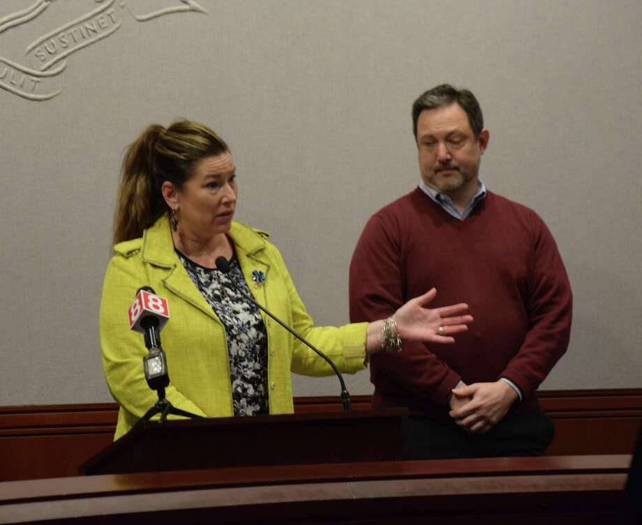 From left are state Rep. Melissa Ziobron, R-34th, and Executive Director of the Connecticut Forest and Park Association Eric Hammerling Photo: File Photo
