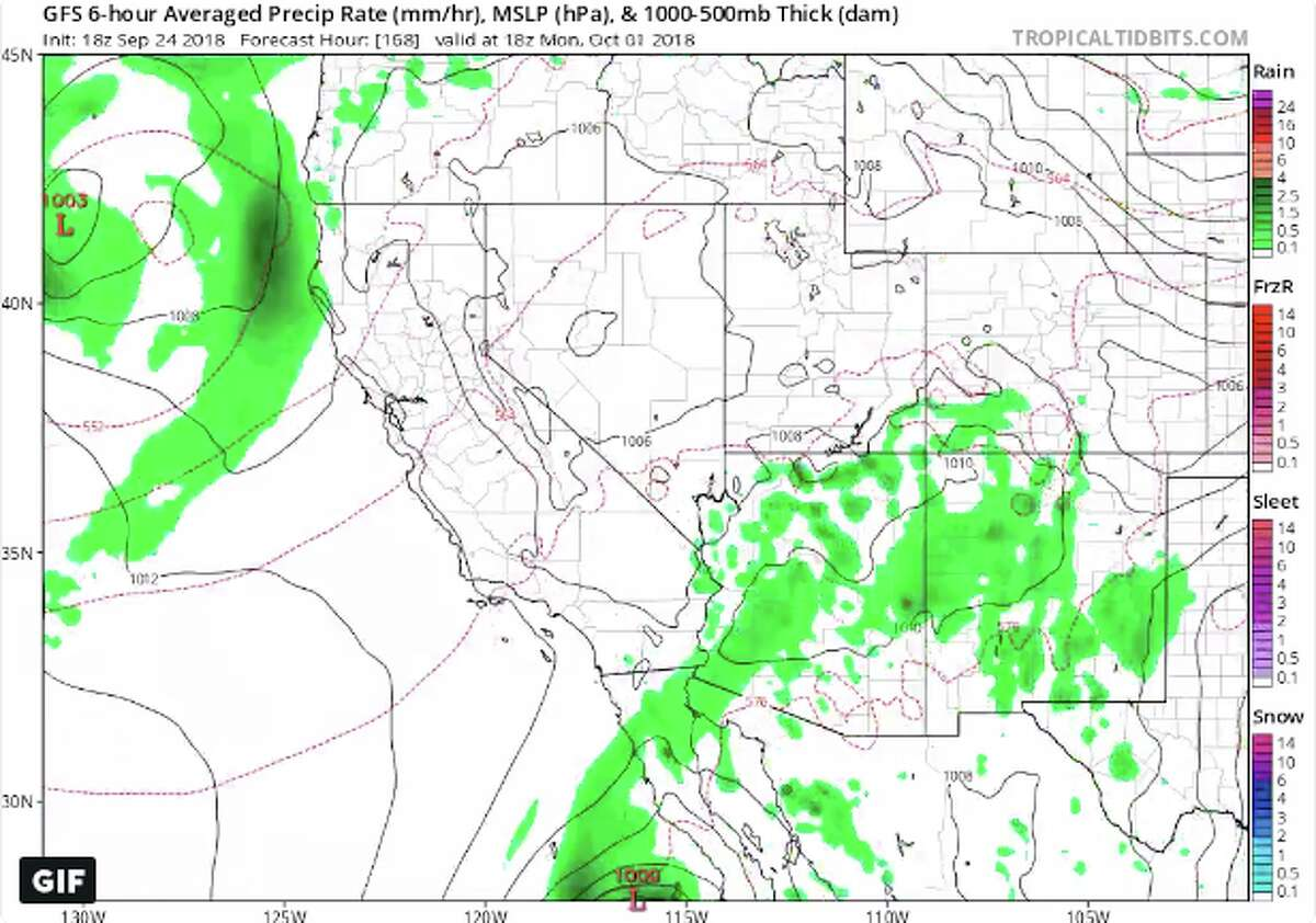 Some climate models are indicating a chance of rain over Norther California and potentially the Bay Area early next week.