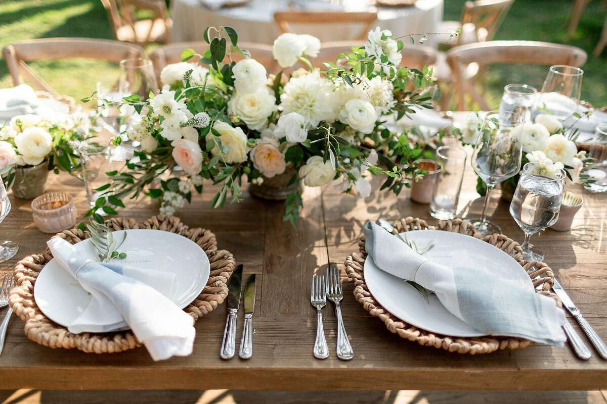 Place settings from�Rosemary Events and Loop Flowers at Beltane Ranch in Glen Ellen.
