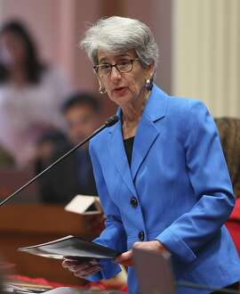 State Sen. Hannah-Beth Jackson, D-Santa Barbara, addresses the California Senate, Wednesday, Aug. 29, 2018, in Sacramento, Calif. The Assembly approved Jackson's bill that would require there be at least one female director on corporate boards of directors. It was sent to the Senate for a final vote. (AP Photo/Rich Pedroncelli)