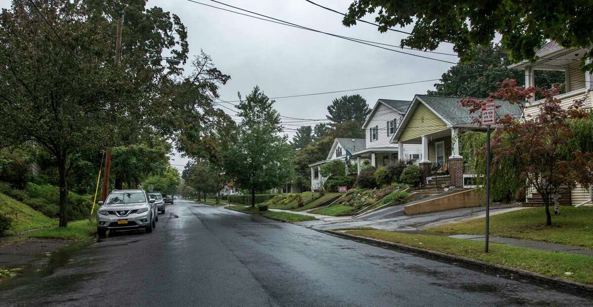 View of Melrose Avenue in the area of the house numbers of 41-61 looking west toward Fairlawn Avenue Tuesday Sept.25, 2018 in Albany, N.Y. (Skip Dickstein/Times Union)