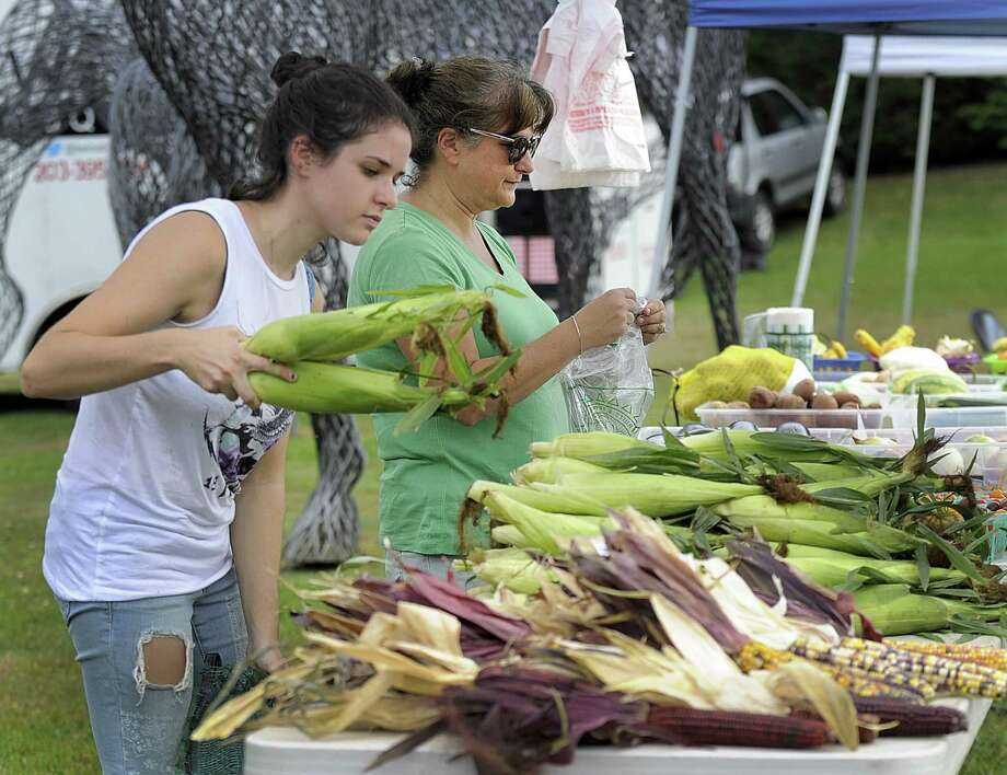 Samantha Mitchell, left, and her mother Jodi, of Mitchell Farm, man their booth at the Brookfield Farmers Market Friday, Oct. 6, 2017. The corn was picked fresh earlier in the day on their Southbury farm. Next friday is the last day of the season for Brookfield Farmers Market, which is on the grounds of the municipal center. Photo: Carol Kaliff / Hearst Connecticut Media / The News-Times