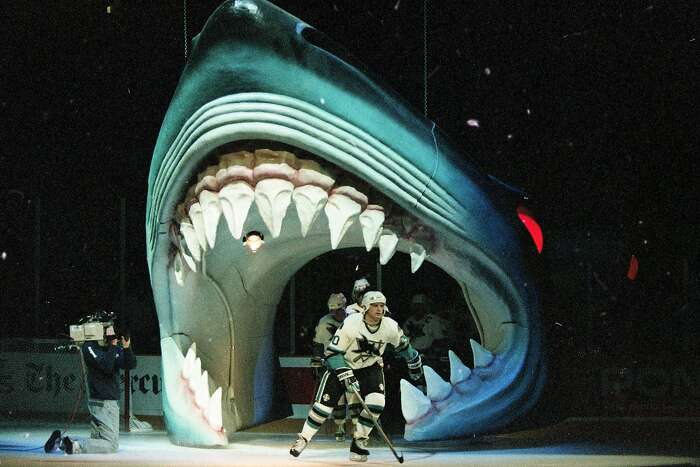 San Jose Sharks players get introduced at the opening home game at the new San Jose Arena, October 14, 1993 By the end of the year, it would be known by the teams enthusiastic fans as the Shark Tank