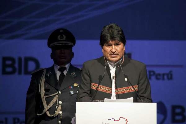 Evo Morales, Bolivia's president, speaks in Lima, Peru, on April 13, 2018.