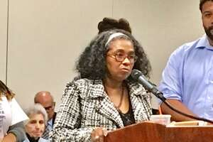 Former Bridgeport Board of Education member Sauda Baraka addresses school board on Sept. 24, 2018.