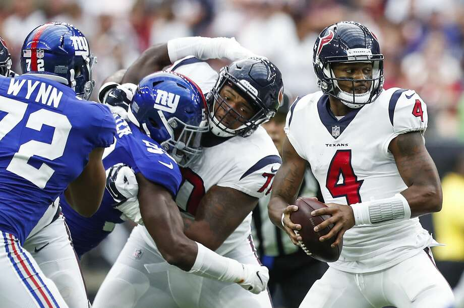 Houston Texans quarterback Deshaun Watson (4) drops back to pass against the New York Giants during the second quarter of an NFL football game at NRG Stadium on Sunday, Sept. 23, 2018, in Houston. Photo: Brett Coomer/Staff Photographer