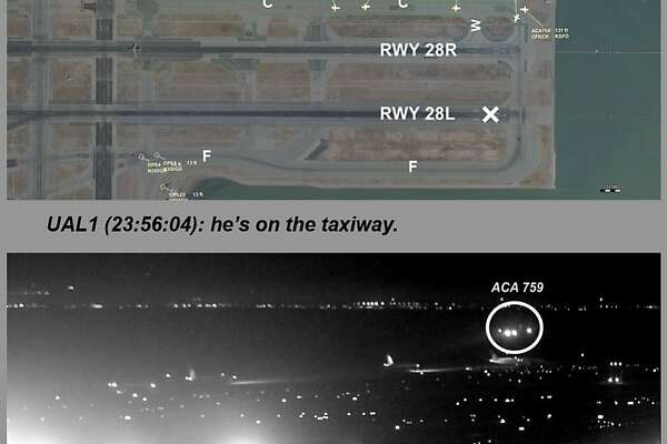 FILE - This composite of file images released by the National Transportation Safety Board (NTSB) shows Air Canada flight 759 (ACA 759) attempting to land at the San Francisco International Airport in San Francisco on July 7, 2017. At top is a map of the runway created from Harris Symphony OpsVue radar track data analysis. At center is from a transmission to air traffic control from a United Airlines airplane on the taxiway. The bottom image, taken from San Francisco International Airport video and annotated by source, shows the Air Canada plane flying just above a United Airlines flight waiting on the taxiway. Video captured the moment that an off-course Air Canada jet flew just a few dozen feet over the tops of four other jetliners filled with passengers. On Tuesday, Sept. 25, 2018, the National Transportation Safety Board will consider the probable cause of the close call at the airport. (NTSB via AP, File)