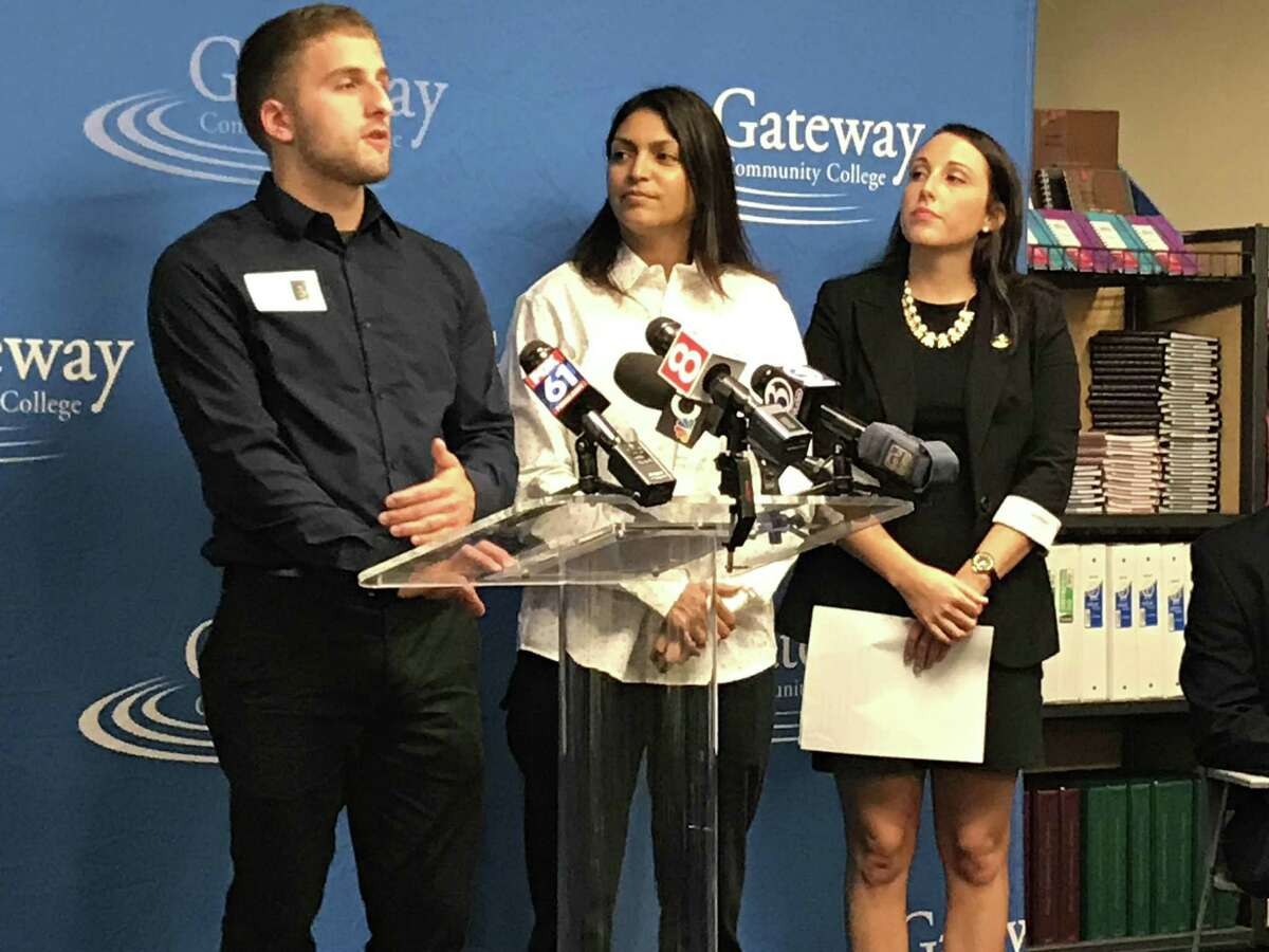 From left, Andrew Albert, a Southern Connecticut State University student by way of Tunxis Community College; Monica Maldonado, a Gateway Community College student; and Sage Maier, a Tunxis Community College student, speak at an event at Gateway in New Haven on Tuesday.