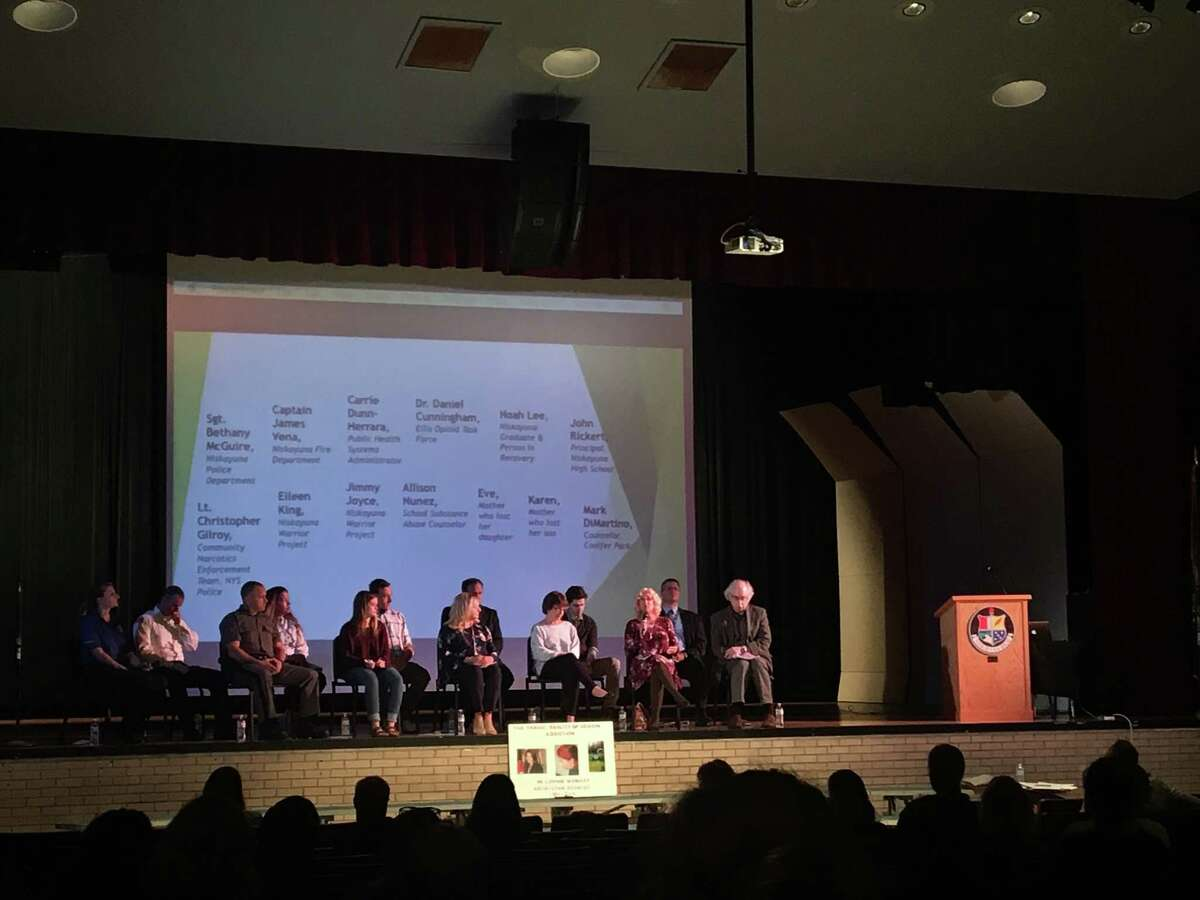 A panel of law enforcement, counselors, educators, students and parents of overdose victims raise awareness for the opioid epidemic at an event at Niskayuna High School on Monday, September 24, 2018.