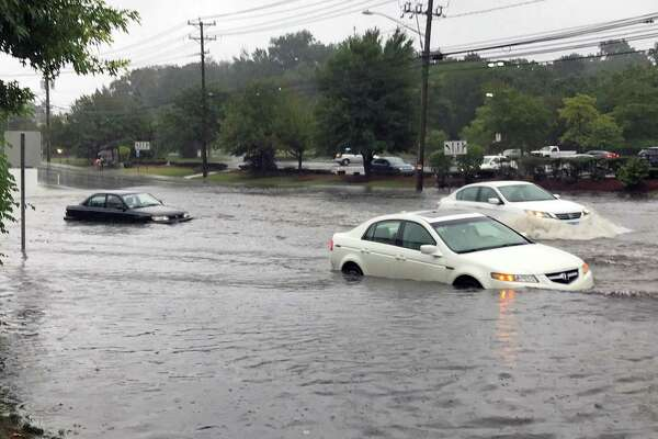 Flooding on Connecticut Avenue in Norwalk, Conn., on Sept. 25, 2018.