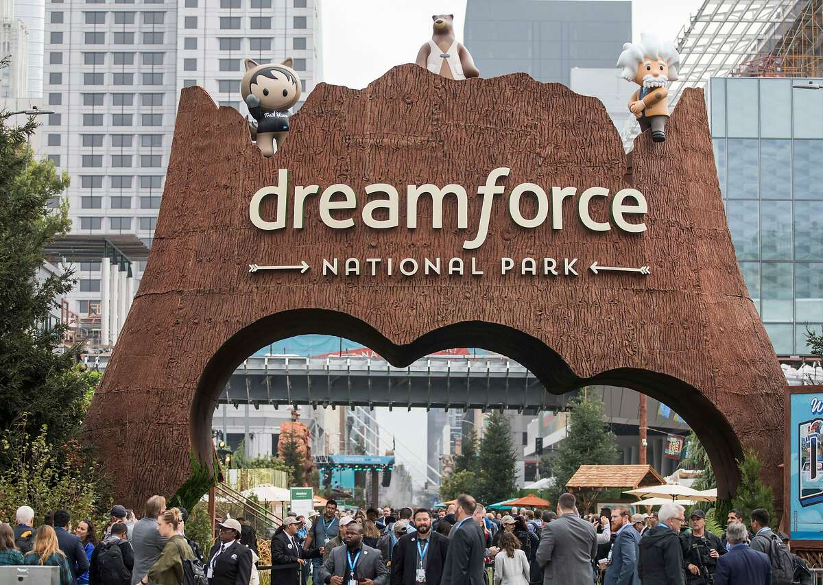 FILE - The main entrance to the Dreamforce conference hosted by Salesforce is seen at 4th and Howard streets in downtown San Francisco, Calif. Tuesday, Sept. 25, 2018. Expect traffic as you near Moscone Center: Dreamforce has taken over SOMA and has shut down a part of Howard Street for the festivities.