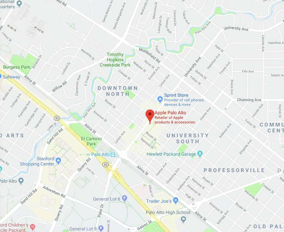 Apple Palo Alto — Robbed Sept. 1, Sept. 22, Sept. 23 — $147,000 in merchandise stolen (collectively) Photo: Google Maps