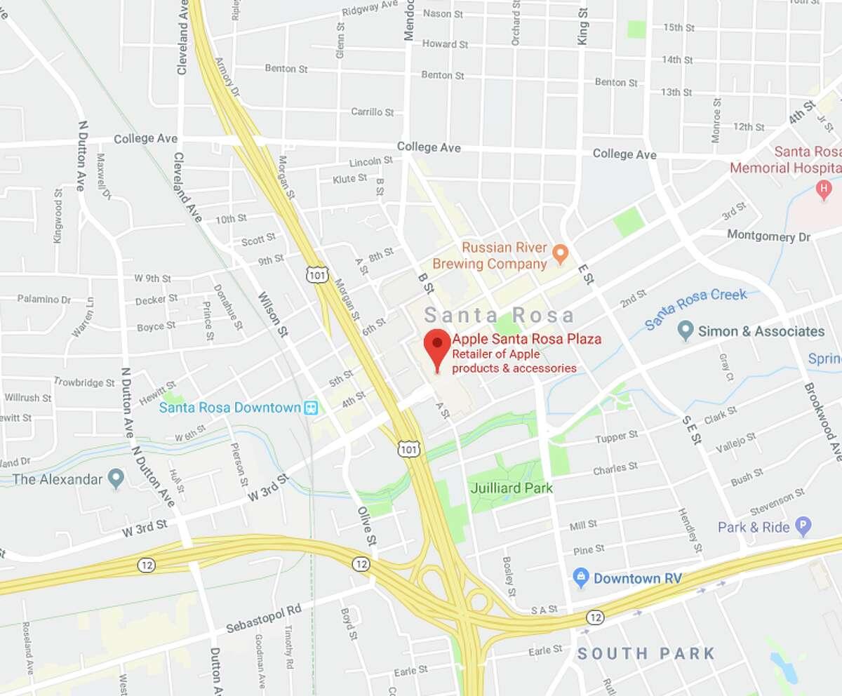 Apple Santa Rosa Plaza, Santa Rosa - Robbed Aug. 29,Sept. 23 - At least $35,000 in merchandise stolen