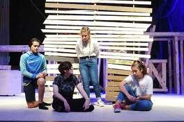 "Alvin High School students Noah Bryant, Grace Koenig, Rachel Hohman and Madelyn Weiskopf-Davila rehears ""Peter and the Starcatcher."""