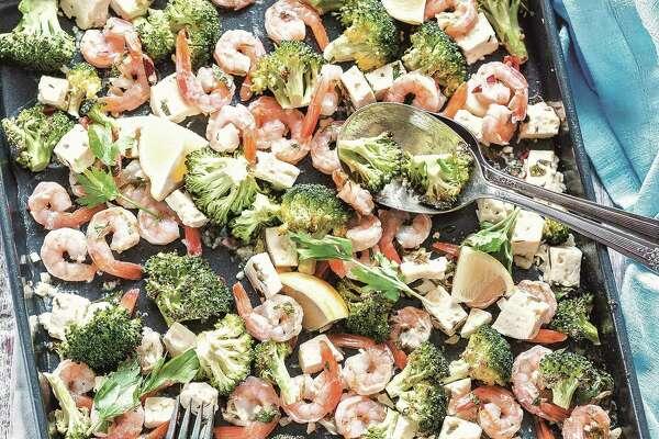 Roasted shrimp with feta and broccoli.