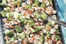 Roasted shrimp with feta and broccoli.