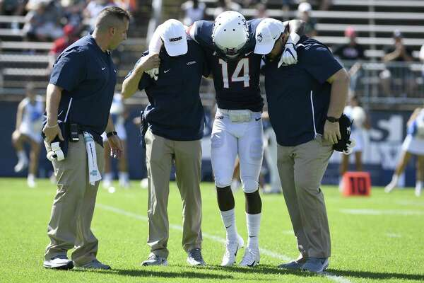 UConn defensive back Tahj Herring-Wilson (14) will miss his second straight game due to injury.