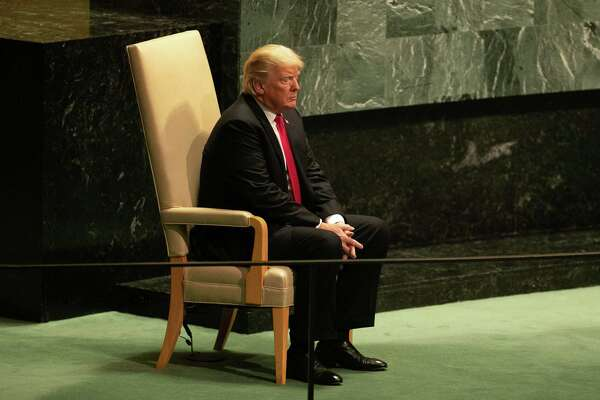 President Trump waits to speak during the U.N. General Assembly meeting in New York on Tuesday.