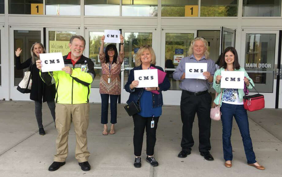 Westport Superintendent Colleen Palmer posted a photo of Coleytown Middle School faculty and staff welcoming Coleytown students to their relocated campus at Bedford Middle School on Sept. 24. Photo: Contributed, Contributed Photo / Westport News contributed