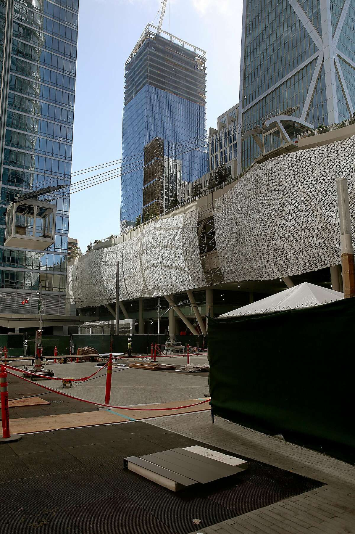 Salesforce will soon operate a new aerial tram from it's Salesfoce Plaza to the transit center's rooftop garden as part of the new Transbay Transit Center on Wednesday, May 9, 2018 in San Francisco, Calif.. The tram will open to the public later this summer.