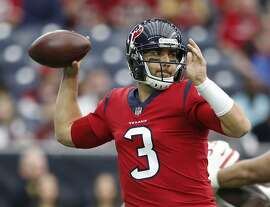 Houston Texans quarterback Tom Savage (3) drops back to pass the ball during the first quarter of an NFL football game at NRG Stadium, Sunday, Dec. 10, 2017, in Houston.  ( Karen Warren / Houston Chronicle )