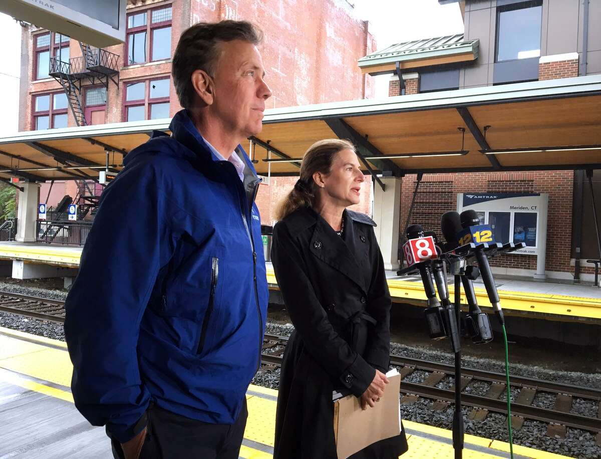 Ned Lamont and Susan Bysiewicz, Democratic nominees for governor and lieutenant governor, held a press conference to discuss infrastructure in Connecticut at the train station in Meriden on Tuesday.