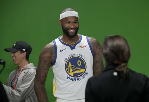 e155daa14 Golden State Warriors  DeMarcus Cousins smiles during media day at the NBA  basketball team s practice