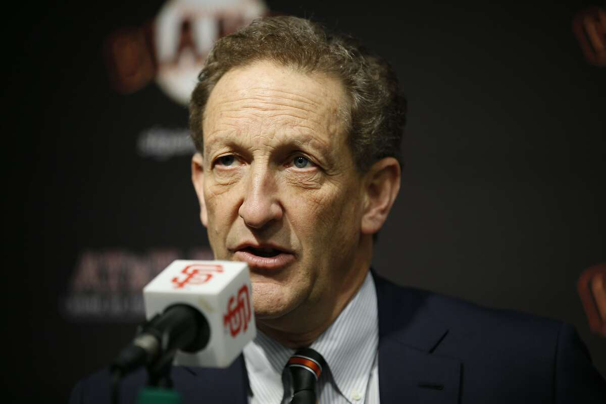 San Francisco Giants CEO Larry Baer during a news conference at AT&T Park, Friday, Jan. 19, 2018, in San Francisco, Calif. The S.F. Giants introduced Evan Longoria as their new third baseman.