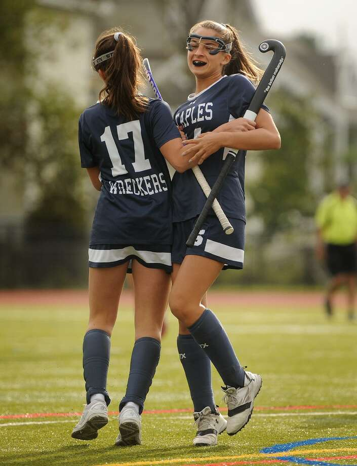 Staples' Maya Reiner, left, and Julia DiConza celebrate a goal in the first half in a win over Fairfield Ludlowe in Fairfield on Monday. Photo: Brian A. Pounds / Hearst Connecticut Media / Connecticut Post