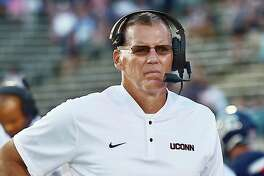 UConn coach Randy Edsall on the sidelines in the Huskies' season opener against UCF on Aug. 30.