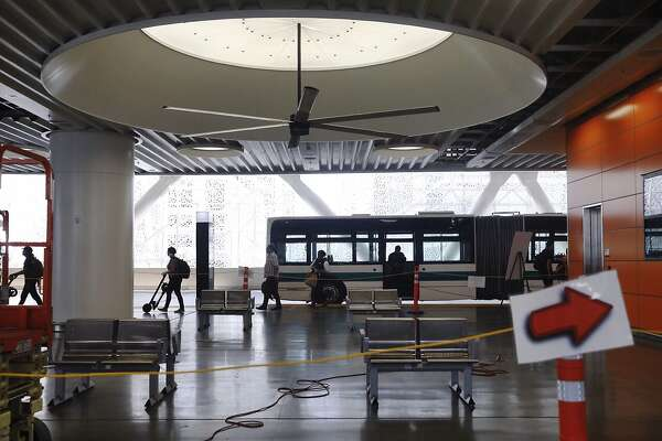 An area of Transbay Terminal�s third-level bus terminal is seen cordoned off after reports of a crack in a steel beam at the Transbay Terminal near Fremont and Mission streets in San Francisco, Calif. Tuesday, September 25, 2018.