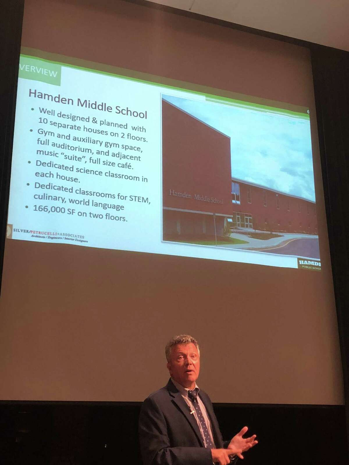 Hamden residents considered three new scenarios for the expected redistricting of the town schools Monday. Here, architect John Ireland speaks.