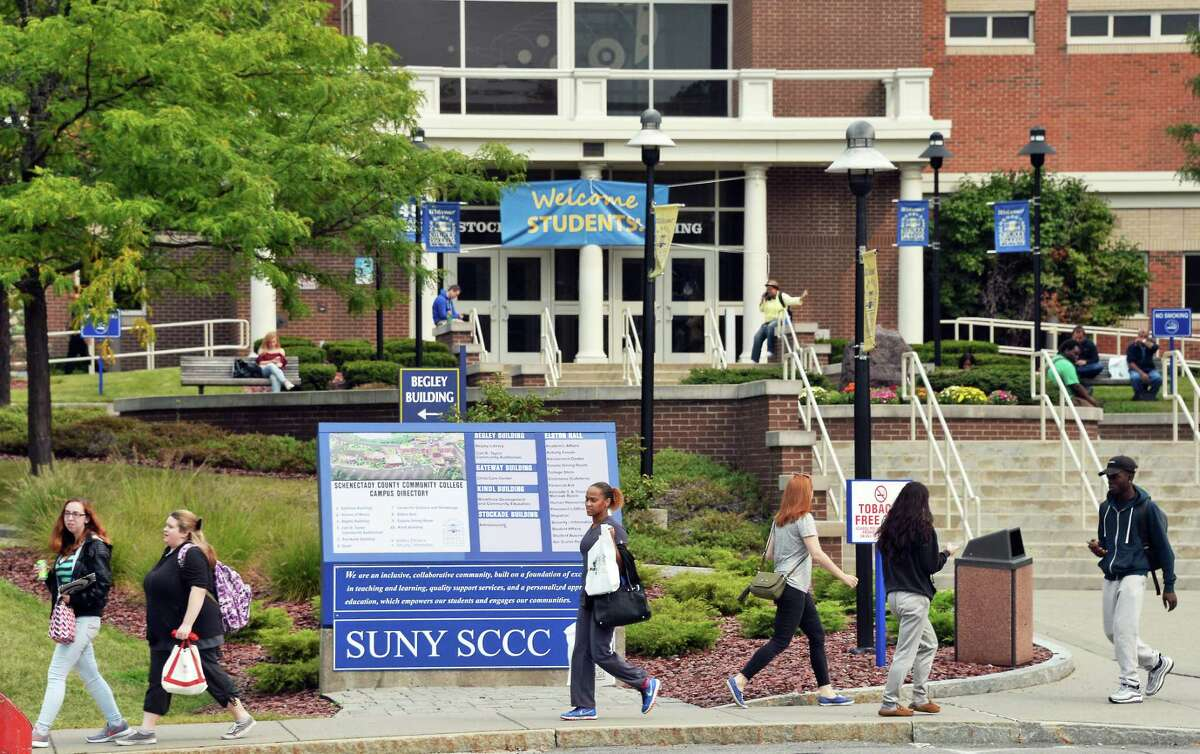 SUNY Schenectady County Community College on Tuesday, Sept. 5, 2017, in Schenectady, N.Y. A burst water pipe at the college forced the cancellation of classes on Tuesday. (John Carl D'Annibale/Times Union archive)