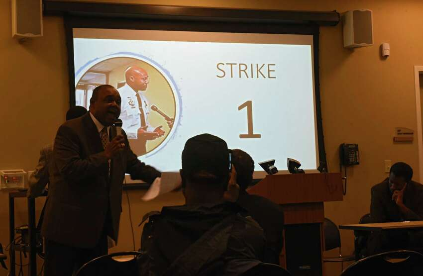 Anthony Muhammad, Albany NY Rep. of The Hon. Minister Louis Farrakkan, speaks as a group of Religious, Political, and Grassroot organizations hold a Justice or Else! rally/power point presentation for Ellazar Williams at the Albany Public Library on Henry Johnson Blvd. on Tuesday, Sept. 25, 2018 in Albany, N.Y. Ellazar Williams was shot in the back by an Albany Police Detective. They demanded Police Chief Eric Hawkins fire detective James Olsen. (Lori Van Buren/Times Union)