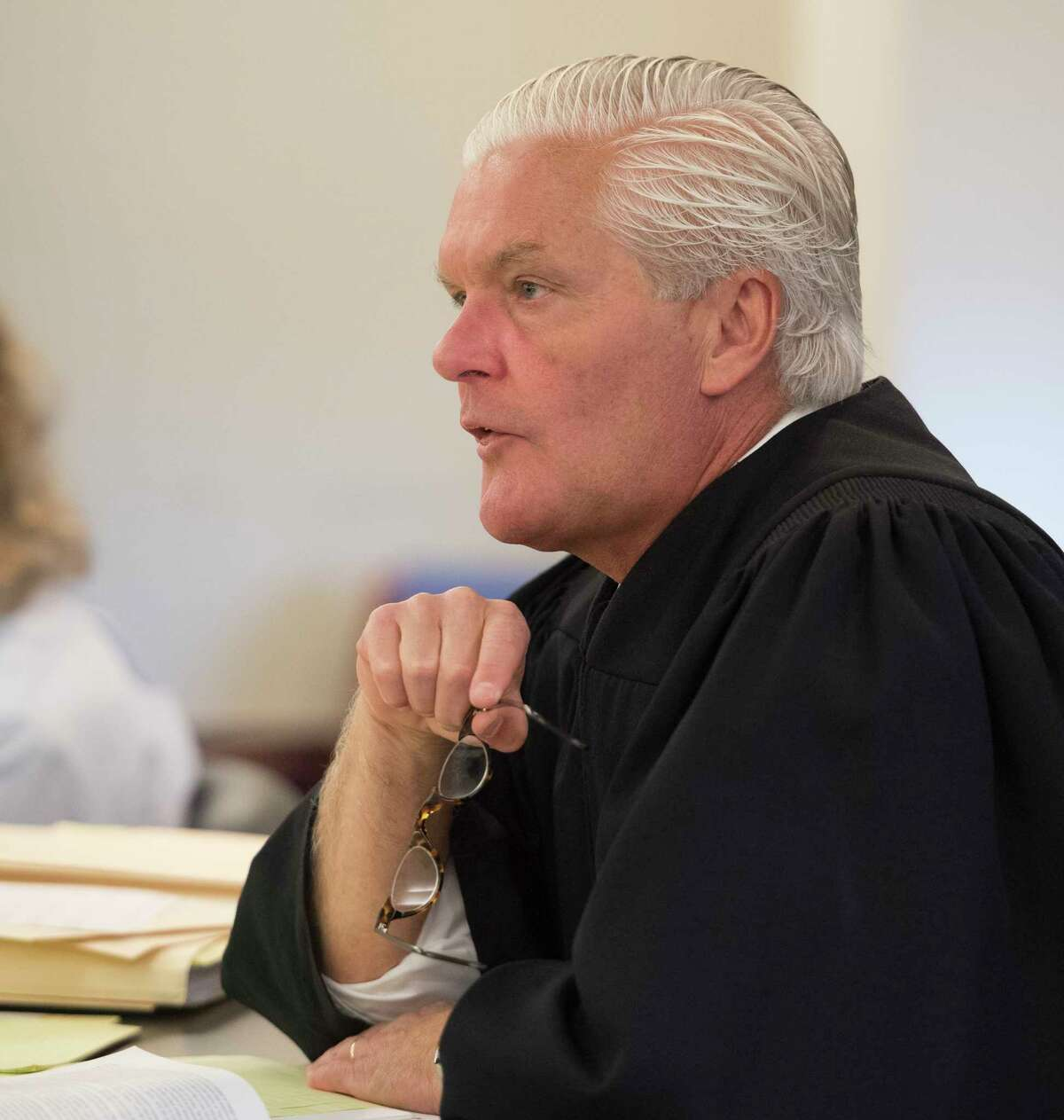 Judge Peter Lynch presides over two cases of interest Tuesday Sept.25, 2018 in Albany County Court in Albany, N.Y. (Skip Dickstein/Times Union)