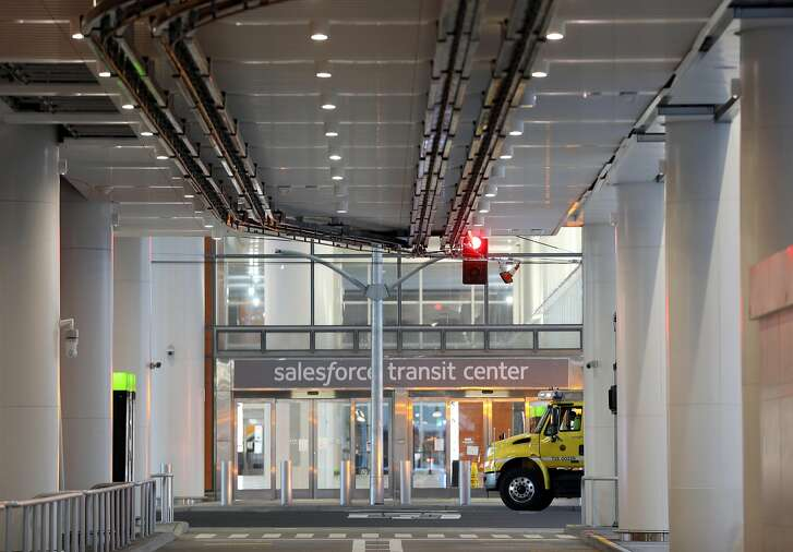 A crew from the SFMTA work onsite after the closure of the SalesForce Transit Center in San Francisco, Calif., on Tuesday, September 25, 2018.